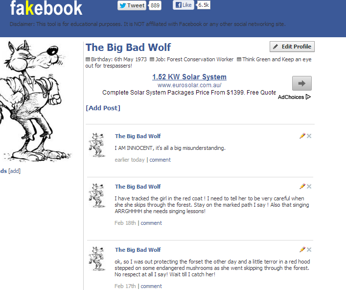 create fakebook for book characters historical figures etc